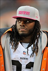 Oct 14, 2012; Cleveland, OH, USA; Cleveland Browns running back Trent Richardson (33) during a game against the Cincinnati Bengals at Cleveland Browns Stadium. Cleveland won 34-24. Mandatory Credit: David Richard-US PRESSWIRE