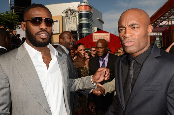 LOS ANGELES, CA - JULY 11:  (L-R) UFC Fighters Jon Jones and Anderson Silva arrive at the 2012 ESPY Awards at Nokia Theatre L.A. Live on July 11, 2012 in Los Angeles, California.  (Photo by Jason Merritt/Getty Images)