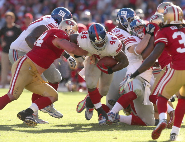 SAN FRANCISCO, CA - OCTOBER 14:  Running back Ahmad Bradshaw #44 of the New York Giants carries the ball against the San Francisco 49ers at Candlestick Park on October 14, 2012 in San Francisco, California.  The Giants won 26-3.  (Photo by Stephen Dunn/Getty Images)