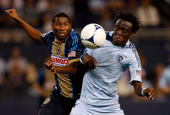 KANSAS CITY, KS - OCTOBER 24:  Raymon Gaddis #28 of Philadelphia Union battles Kei Kamara #23 of Sporting KC for the ball during the MLS game at Livestrong Sporting Park on October 24, 2012 in Kansas City, Kansas.  (Photo by Jamie Squire/Getty Images)