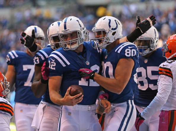 INDIANAOPLIS, IN - OCTOBER 21: Andrew Luck #12 of the Indianapolis Colts is congratulated by teammates including Coby Fleener #80 and Dwayne Allen #83 after running for a touchdown against the Cleveland Browns at Lucas Oil Stadium on October 21, 2012 in Indianapolis, Indiana. (Photo by Jonathan Daniel/Getty Images)