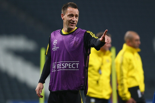 DONETSK, UKRAINE - OCTOBER 22:  John Terry during the Chelsea Training session ahead of the UEFA Champions League Group E match between Shakhtar Donetsk and Chelsea at Donbass Arena on October 22, 2012 in Donetsk, Ukraine.  (Photo by Michael Steele/Getty Images)