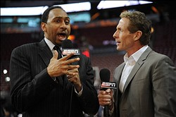 Jun 21, 2012; Miami, FL, USA;  ESPN reporters and tv personalities Stephen A. Smith (left) and Skip Bayless (right) prior to the start of game five in the 2012 NBA Finals between the Oklahoma City Thunder and the Miami Heat at the American Airlines Arena. Mandatory Credit: Steve Mitchell-US PRESSWIRE