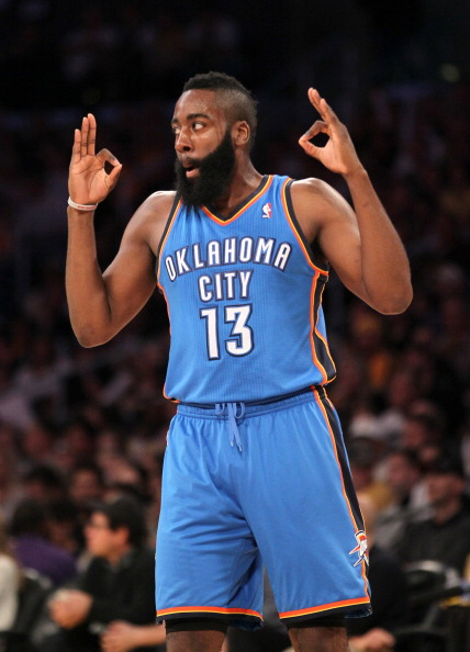 LOS ANGELES, CA - APRIL 22: James Harden #13 of the Oklahoma City Thunder celebrates during the game against the Los Angeles Lakers at Staples Center on April 22, 2012 in Los Angeles, California.  NOTE TO USER: User expressly acknowledges and agrees that, by downloading and or using this photograph, User is consenting to the terms and conditions of the Getty Images License Agreement.  (Photo by Stephen Dunn/Getty Images)