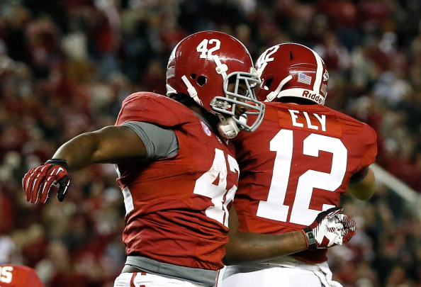 TUSCALOOSA, AL - OCTOBER 27:  Eddie Lacy #42 of the Alabama Crimson Tide celebrates after scoring a touchdown off a reception from Phillip Ely #12 against the Mississippi State Bulldogs at Bryant-Denny Stadium on October 27, 2012 in Tuscaloosa, Alabama.  (Photo by Kevin C. Cox/Getty Images)