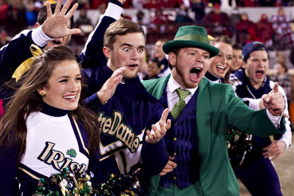 NORMAN, OK - OCTOBER 27:   Cheerleaders and Mascot of the Notre Dame Fighting Irish celebrate after a touchdown against the Oklahoma Sooners at Gaylord Family Oklahoma Memorial Stadium on October 27, 2012 in Norman, Oklahoma.  The Fighting Irish defeated the Sooners 30-13.  (Photo by Wesley Hitt/Getty Images)