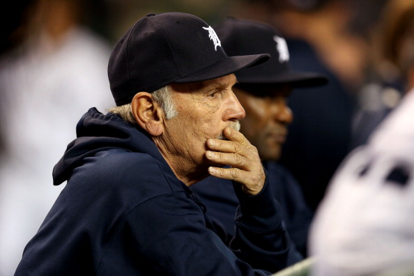 DETROIT, MI - OCTOBER 27:  Manager Jim Leyland #10 of the Detroit Tigers looks on in the dugout against the San Francisco Giants during Game Three of the Major League Baseball World Series at Comerica Park on October 27, 2012 in Detroit, Michigan.  (Photo by Jonathan Daniel/Getty Images)