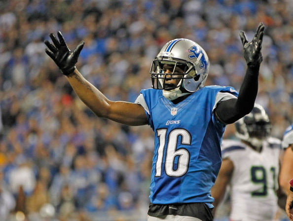 DETROIT, MI - OCTOBER 28:  Titus Young #16 reacts to a late fourth quarter call during the game against the Seattle Seahwaks at Ford Field on October 28, 2012 in Detroit, Michigan. The Lions defeated the Seahwaks 28-24.  (Photo by Leon Halip/Getty Images)