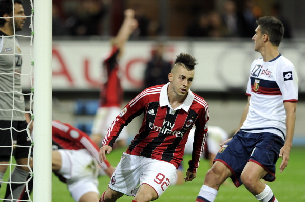 MILAN, ITALY - OCTOBER 27:  Stephan El Shaarawy of AC Milan celebrates scoring the first goal during the Serie A match between AC Milan and Genoa CFC at San Siro Stadium on October 27, 2012 in Milan, Italy.  (Photo by Claudio Villa/Getty Images)