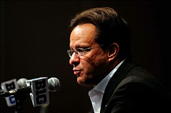 October 25, 2012; Chicago, IL, USA; Indiana Hoosiers men's head coach Tom Crean speaks to the audience during the Big Ten media day at the Hyatt Regency O'Hare. Mandatory Credit: Reid Compton-US PRESSWIRE