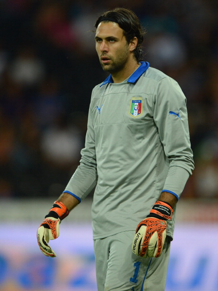 BERN, SWITZERLAND - AUGUST 15:  Salvatore Sirigu of Italy looks on during the international friendly match between England and Italy at Stade de Suisse, Wankdorf on August 15, 2012 in Bern, Switzerland.  (Photo by Michael Regan/Getty Images)