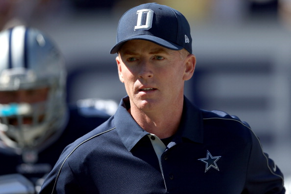 CHARLOTTE, NC - OCTOBER 21:  Head coach Jason Garrett of the Dallas Cowboys walks onto the field during their game against the Carolina Panthers at Bank of America Stadium on October 21, 2012 in Charlotte, North Carolina.  (Photo by Streeter Lecka/Getty Images)