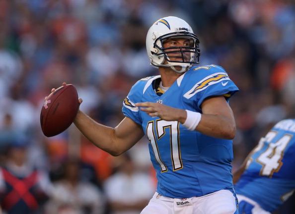 SAN DIEGO, CA - OCTOBER 15:  Quarterback Philip Rivers #17 of the San Diego Chargers drops back to pass against the Denver Broncos at Qualcomm Stadium on October 15, 2012 in San Diego, California.  (Photo by Jeff Gross/Getty Images)