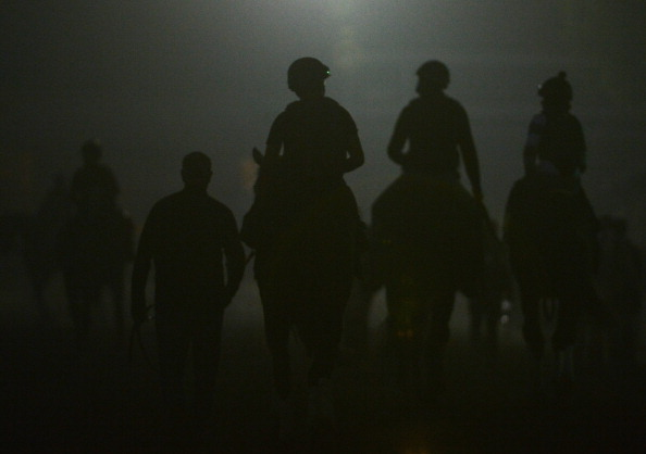 ARCADIA, CA - NOVEMBER 01:  Horses leave the track in preparation for the 2012 Breeder's Cup at Santa Anita Park on November 1, 2012 in Arcadia, California.  (Photo by Harry How/Getty Images)