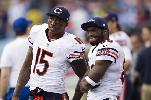 NASHVILLE, TN - NOVEMBER 4:  Brandon Marshall #15 and Earl Bennett #80 of the Chicago Bears watch from the sidelines during a game against the Tennessee Titans at LP Field on November 4, 2012 in Nashville, Tennessee.  The Bears defeated the Titans 51-20.  (Photo by Wesley Hitt/Getty Images)