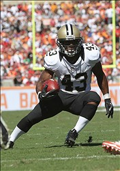 October 21, 2012; Tampa, FL, USA; New Orleans Saints running back Darren Sproles (43) runs with the ball against the Tampa Bay Buccaneers during the second quarter at Raymond James Stadium. Mandatory Credit: Kim Klement-US PRESSWIRE