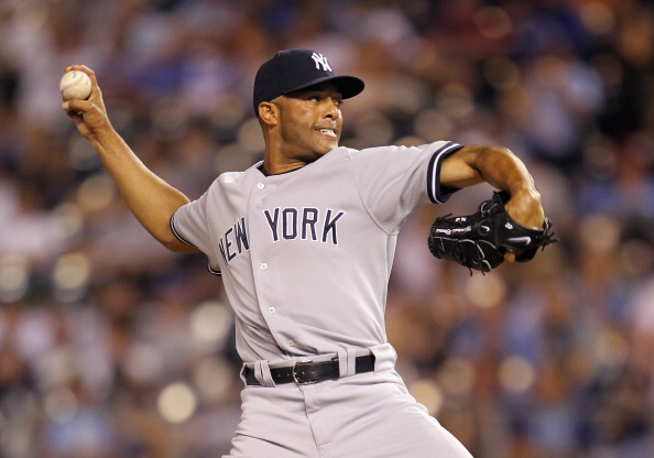 KANSAS CITY, MO - AUGUST 16:  Closer Mariano Rivera #42 of the New York Yankees pitches during the 9th inning of the game at Kauffman Stadium on August 16, 2011 in Kansas City, Missouri.  (Photo by Jamie Squire/Getty Images)