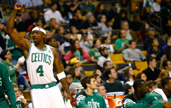 BOSTON, MA - OCTOBER 16:  Jason Terry #4 of the Boston Celtics celebrates against the Brookyln Nets during the preseason game on October 16, 2012 at TD Garden in Boston, Massachusetts. NOTE TO USER: User expressly acknowledges and agrees that, by downloading and or using this photograph, User is consenting to the terms and conditions of the Getty Images License Agreement.  (Photo by Jared Wickerham/Getty Images)