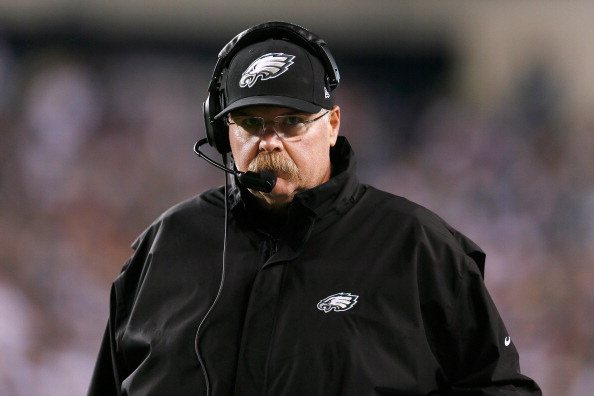 PHILADELPHIA, PA - SEPTEMBER 30:  Head coach Andy Reid of the Philadelphia Eagles looks on during the second half of the Eagles game against the New York Giants at Lincoln Financial Field on September 30, 2012 in Philadelphia, Pennsylvania.  (Photo by Rob Carr/Getty Images)