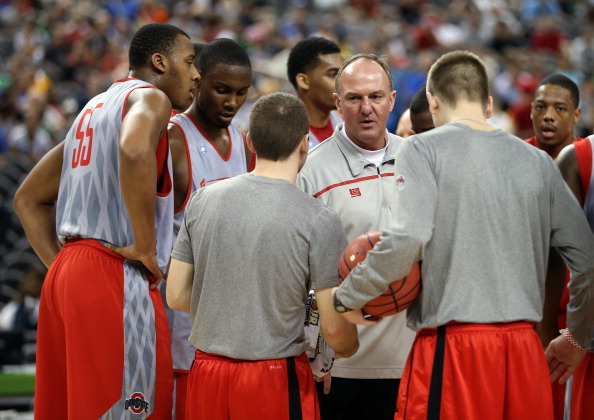 NEW ORLEANS, LA - MARCH 30:  Head coach Thad Matta of the Ohio State Buckeyes talks to his team during practice prior to the 2012 Final Four of the NCAA Division I Men's Basketball Tournament at the Mercedes-Benz Superdome on March 30, 2012 in New Orleans, Louisiana.  (Photo by Jeff Gross/Getty Images)