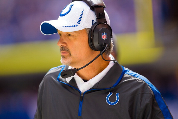 INDIANAPOLIS, IN - SEPTEMBER 23: Head coach Chuck Pagano of the Indianapolis Colts watches from the sidelines against the Jacksonville Jaguars at Lucas Oil Stadium on September 23, 2012 in Indianapolis, Indiana. (Photo by Michael Hickey/Getty Images)