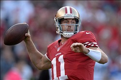 Oct 18, 2012; San Francisco, CA, USA; San Francisco 49ers quarterback Alex Smith (11) throws a pass against the Seattle Seahawks  at Candlestick Park. Mandatory Credit: Kirby Lee/Image of Sport-US PRESSWIRE