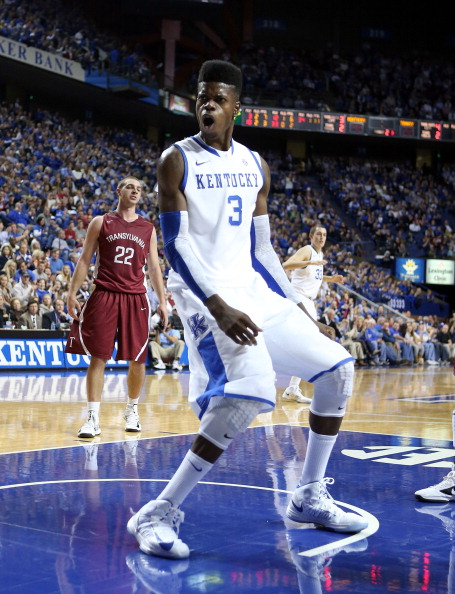 LEXINGTON, KY - NOVEMBER 05:  Nerlens Noel #3  of the Kentucky Wildcats celebrates after dunking the ball during the exhibition game against the Transylvania Pioneers at Rupp Arena on November 5, 2012 in Lexington, Kentucky.  (Photo by Andy Lyons/Getty Images)