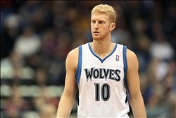 Nov 7, 2012; Minneapolis, MN, USA: Minnesota Timberwolves small forward Chase Budinger (10) looks on during a free throw in the second half against the Orlando Magic at Target Center. The Timberwolves won 90-75. Mandatory Credit: Jesse Johnson-US PRESSWIRE