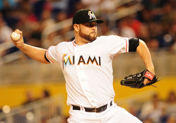 MIAMI, FL - SEPTEMBER 29:  Ricky Nolasco #47 pitches against the Philadelphia Phillies at Marlins Park on September 29, 2012 in Miami, Florida.  (Photo by Jason Arnold/Getty Images)