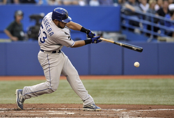 TORONTO, CANADA - AUGUST 25:  Melky Cabrera #53 of the Kansas City Royals bats during MLB game action against the Toronto Blue Jays August 25, 2011 at Rogers Centre in Toronto, Ontario, Canada. (Photo by Brad White/Getty Images)