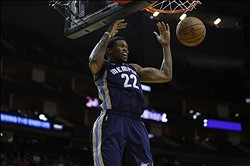 Oct 17, 2012; Houston, TX, USA; Memphis Grizzlies forward Rudy Gay (22) dunks against the Houston Rockets during the first quarter at the Toyota Center. Mandatory Credit: Thomas Campbell-US PRESSWIRE