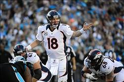 Nov 11, 2012; Charlotte, NC, USA; Denver Broncos quarterback Peyton Manning (18) calls signals in the fourth quarter at Bank of America Stadium. Mandatory Credit: Bob Donnan-US PRESSWIRE
