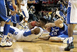 Nov 13, 2012; Atlanta, GA, USA; Kentucky Wildcats forward Nerlens Noel (3) and Duke Blue Devils forward Ryan Kelly (34) go for a loose ball during the second half of the 2012 Champions Classic at the Georgia Dome.  Mandatory Credit: Daniel Shirey-US PRESSWIRE