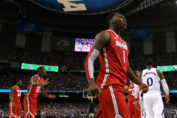 NEW ORLEANS, LA - MARCH 31:  Deshaun Thomas #1 of the Ohio State Buckeyes reacts in the first half while taking on the Kansas Jayhawks during the National Semifinal game of the 2012 NCAA Division I Men's Basketball Championship at the Mercedes-Benz Superdome on March 31, 2012 in New Orleans, Louisiana.  (Photo by Chris Graythen/Getty Images)
