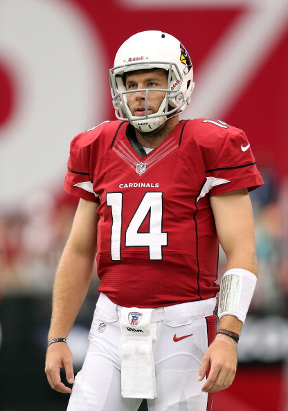 GLENDALE, AZ - SEPTEMBER 30:  Quarterback Ryan Lindley #14 of the Arizona Cardinals warms up before the NFL game against the Miami Dolphins at the University of Phoenix Stadium on September 30, 2012 in Glendale, Arizona. The Carindals defeated the Dolphins 24-21 in overtime.  (Photo by Christian Petersen/Getty Images)