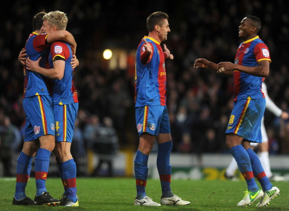 LONDON, ENGLAND - NOVEMBER 17: Andre Moritz of Crystal Palace celebrates his goal with team mates during the npower Championship match between Crystal Palace and Derby County at Selhurst Park on November 17, 2012 in London, England. (Photo by Charlie Crowhurst/Getty Images)