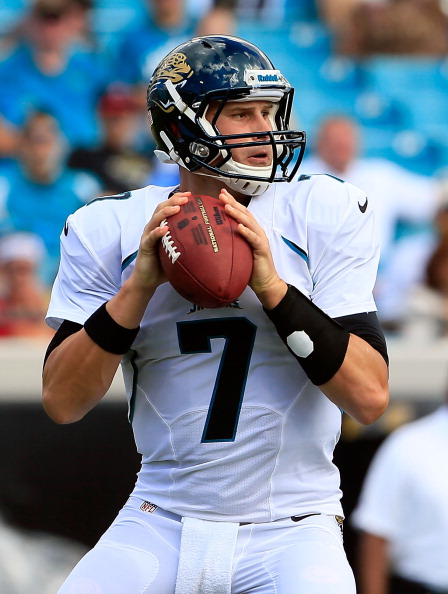 JACKSONVILLE, FL - SEPTEMBER 16:   Chad Henne #7 of the Jacksonville Jaguars attempts a pass during the game against the Houston Texans  at EverBank Field on September 16, 2012 in Jacksonville, Florida.  (Photo by Sam Greenwood/Getty Images)