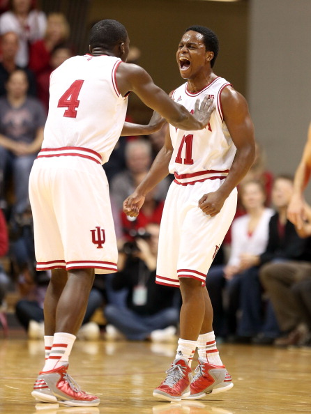 BLOOMINGTON, IN - NOVEMBER 01:  Yogi Ferrell #11 of the Indiana Hoosiers and Victor Oladipo #4 celebrate during the exhibition game against the Indiana Wesleyan Wildcats at Assembly Hall on November 1, 2012 in Bloomington, Indiana.  (Photo by Andy Lyons/Getty Images)