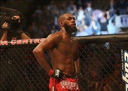 Sep 22, 2012; Toronto, ON, Canada; UFC fighter Jon Jones after defeating fighter Vitor Belfort (not pictured) during a light heavyweight bout at UFC 152 at the Air Canada Centre. Mandatory Credit: Tom Szczerbowski-US PRESSWIRE