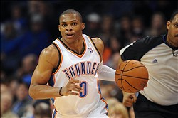 Nov 11, 2012; Oklahoma City, OK, USA; Oklahoma City Thunder guard Russell Westbrook (0) handles the ball against the Cleveland Cavaliers during the second half at Chesapeake Energy Arena.  Mandatory Credit: Mark D. Smith-US PRESSWIRE