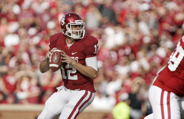 NORMAN, OK - NOVEMBER 10: Quarterback Landry Jones #12 of the Oklahoma Sooners looks to throw against the Baylor Bears November 10, 2012 at Gaylord Family-Oklahoma Memorial Stadium in Norman, Oklahoma. Oklahoma defeated Baylor 42-34. (Photo by Brett Deering/Getty Images)