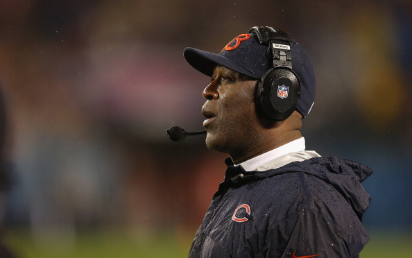 CHICAGO, IL - NOVEMBER 11:  Head coach Lovie Smith of the Chicago Bears watches as his team takes on the Houston Texans at Soldier Field on November 11, 2012 in Chicago, Illinois. The Texans defeated the Bears 13-6.  (Photo by Jonathan Daniel/Getty Images)