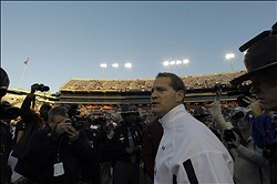 Nov 17, 2012; Auburn, AL, USA: Auburn Tigers head coach Gene Chizik leaves the field after the Tigers beat the Alabama A&M Bulldogs 51-7 at Jordan-Hare Stadium.  Mandatory Credit: John Reed-US PRESSWIRE
