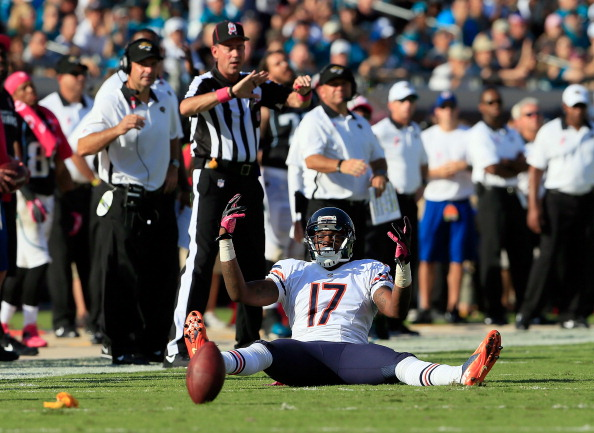 JACKSONVILLE, FL - OCTOBER 07:   Alshon Jeffery #17 of the Chicago Bears raises his arms after a penalty flag during the game against the Jacksonville Jaguars at EverBank Field on October 7, 2012 in Jacksonville, Florida.  (Photo by Sam Greenwood/Getty Images)