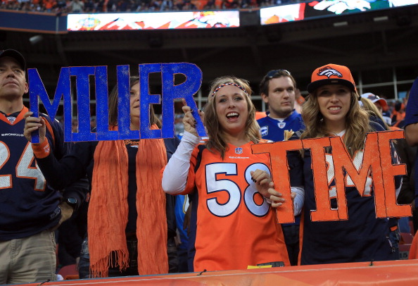 DENVER, CO - NOVEMBER 18:  Fans hold signs in support of outside linebacker Von Miller #58 of the Denver Broncos as they face the San Diego Chargers at Sports Authority Field at Mile High on November 18, 2012 in Denver, Colorado. The Broncos defeated the Chargers 30-23.  (Photo by Doug Pensinger/Getty Images)