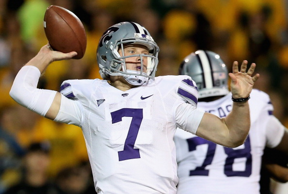 WACO, TX - NOVEMBER 17:  Collin Klein #7 of the Kansas State Wildcats throws the ball against the Baylor Bears at Floyd Casey Stadium on November 17, 2012 in Waco, Texas.  (Photo by Ronald Martinez/Getty Images)