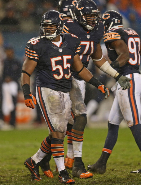 CHICAGO, IL - NOVEMBER 11:  Lance Briggs #55 and Israel Idonije #71 of the Chicago Bears walk off the field near the end of a game against the Houston Texans at Soldier Field on November 11, 2012 in Chicago, Illinois. The Texans defeated the Bears 13-6.  (Photo by Jonathan Daniel/Getty Images)