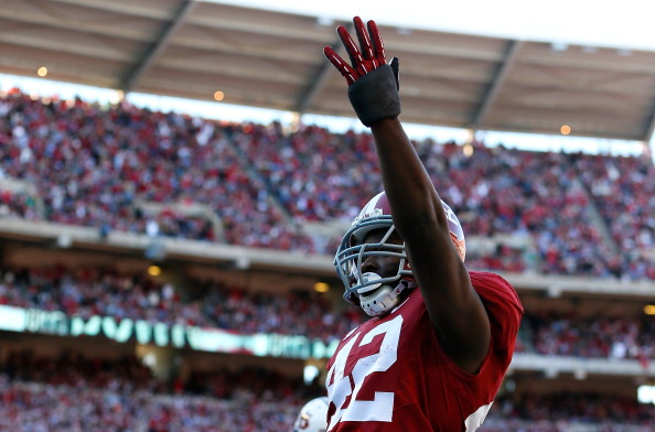 TUSCALOOSA, AL - NOVEMBER 24:  Eddie Lacy #42 of the Alabama Crimson Tide reacts after scoring a touchdown against the Auburn Tigers at Bryant-Denny Stadium on November 24, 2012 in Tuscaloosa, Alabama.  (Photo by Kevin C. Cox/Getty Images)
