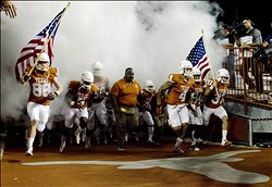 Nov 22, 2012; Austin, TX, USA; The Texas Longhorns players take the field before the game against the TCU Horned Frogs at Darrell K Royal-Texas Memorial Stadium. Mandatory Credit: Brendan Maloney-US PRESSWIRE