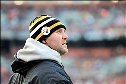 Nov 25, 2012; Cleveland, OH, USA; Pittsburgh Steelers quarterback Ben Roethlisberger (7) on the sidelines in the third quarter against the Cleveland Browns at Cleveland Browns Stadium. Mandatory Credit: Andrew Weber-US PRESSWIRE